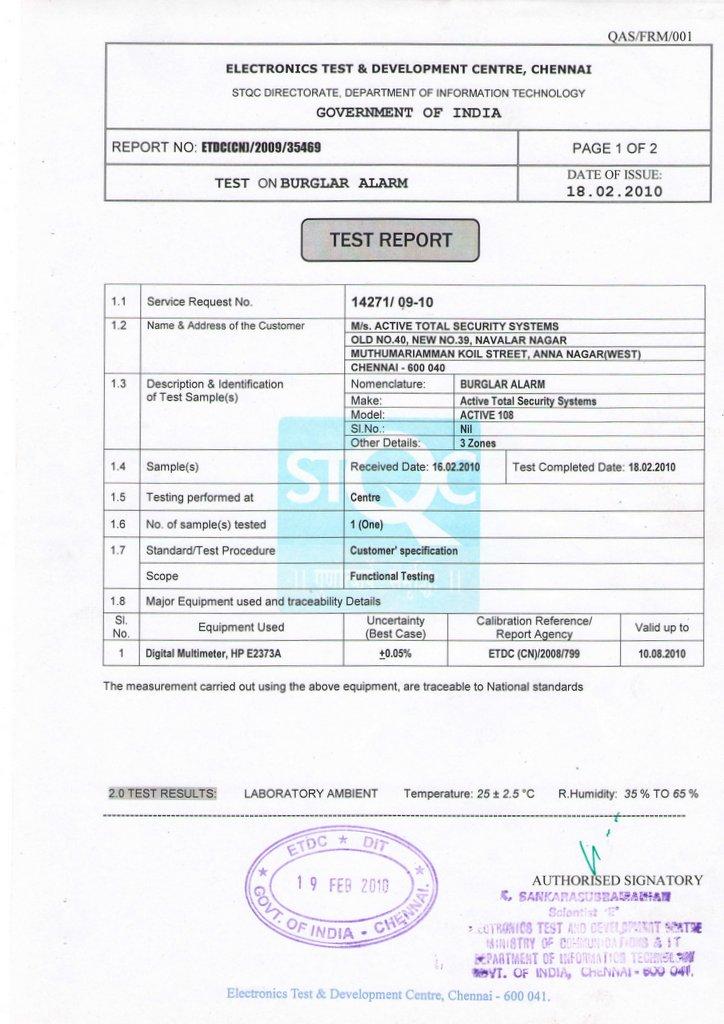 Stqc Certified Burglar Alarm Manufacturer Atss India